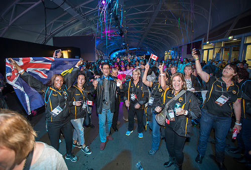 April 30th 2017, Auckland, New Zealand; Closing Ceremony of the World Masters Games; Athletes celebrate during the closing ceremony of the World Masters Games 2017 held at The Cloud on Auckland's waterfront