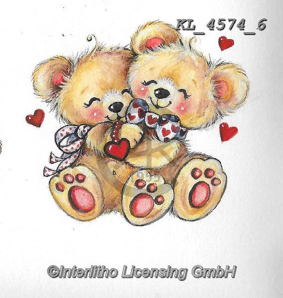 VALENTINE, VALENTIN, paintings+++++,KL4574/6,#v#, EVERYDAY ,sticker,stickers ,bear,bears