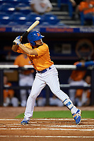 St. Lucie Mets center fielder Desmond Lindsay (2) at bat during the second game of a doubleheader against the Charlotte Stone Crabs on April 24, 2018 at First Data Field in Port St. Lucie, Florida.  St. Lucie defeated Charlotte 6-5.  (Mike Janes/Four Seam Images)