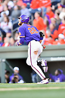 Clemson Tigers right fielder Seth Beer (28) runs to first base during a game against the South Carolina Gamecocks at Fluor Field on March 3, 2018 in Greenville, South Carolina. The Tigers defeated the Gamecocks 5-1. (Tony Farlow/Four Seam Images)
