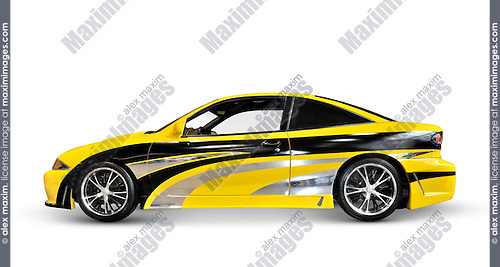 Yellow custom sports car side view isolated on white background with clipping path