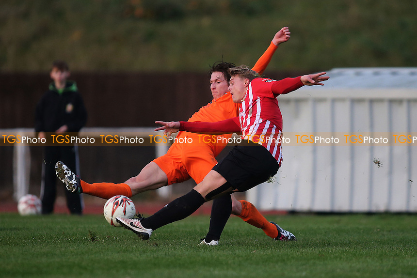 George Purcell of Hornchurch smashes in the first goal during AFC Hornchurch vs Maldon & Tiptree, Ryman League Division 1 North Football at Hornchurch Stadium on 26th November 2016