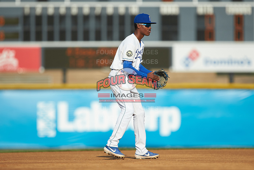Burlington Royals shortstop Maikel Garcia (2) on defense against the Danville Braves at Burlington Athletic Stadium on July 13, 2019 in Burlington, North Carolina. The Royals defeated the Braves 5-2. (Brian Westerholt/Four Seam Images)