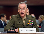 "General Joseph F. Dunford, Jr., US Marine Corps, Chairman of the Joint Chiefs of Staff, gives testimony before the US Senate Committee on Armed Services on ""the Department of Defense budget posture in review of the Defense Authorization Request for Fiscal Year 2018 and the Future Years Defense Program"" on Capitol Hill in Washington, DC on Tuesday, June 13, 2017.<br /> Credit: Ron Sachs / CNP"
