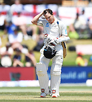 24th November 2019; Mt Maunganui, New Zealand;  BJ Watling after being hit in the helmet during play on day 4 of the 1st international cricket test match, New Zealand versus England at Bay Oval, Mt Maunganui, New Zealand.  - Editorial Use