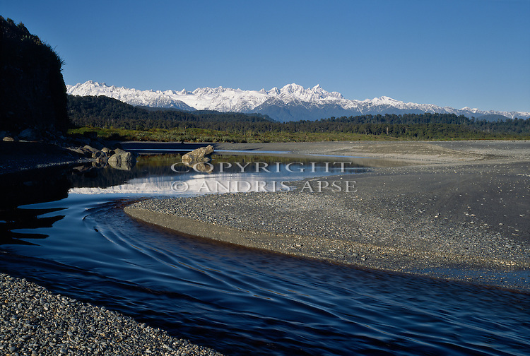 Three Mile river and Lagoon. South Westland Region.  New Zealand.