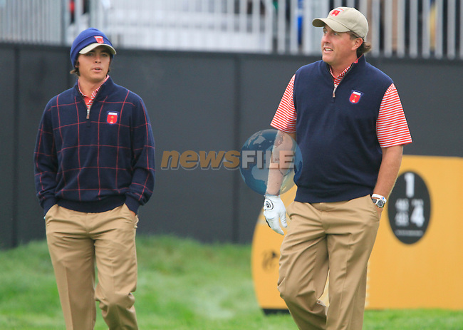 Phil Mickelson and Rickie Fowler on the 1st hole during Practice Day 3 of the The 2010 Ryder Cup at the Celtic Manor, Newport, Wales, 29th September 2010..(Picture Eoin Clarke/www.golffile.ie)