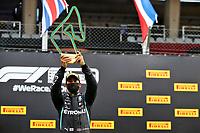 12th July 2020; Styria, Austria; FIA Formula One World Championship 2020, Grand Prix of Styria race day; FIA Formula One World Championship 2020, Grand Prix of Styria,  44 Lewis Hamilton GBR, Mercedes-AMG Petronas Formula One Team celebrates his win on the podium