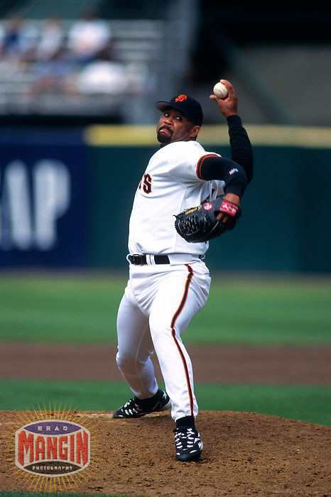 SAN FRANCISCO, CA:  Jose Mesa of the San Francisco Giants in action at Candlestick Park in San Francisco, California in 1998. (Photo by Brad Mangin)