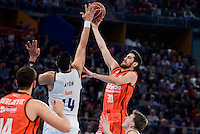 Real Madrid's Gustavo Ayon and Valencia Basket's Joan Sastre during Quarter Finals match of 2017 King's Cup at Fernando Buesa Arena in Vitoria, Spain. February 19, 2017. (ALTERPHOTOS/BorjaB.Hojas)
