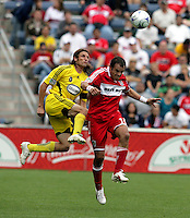 Columbus Crew defender Frankie Hejduk (2) battles for the ball with Chicago Fire midfielder Cuauhtemoc Blanco (10).  The Columbus Crew tied the Chicago Fire 2-2 at Toyota Park in Bridgeview, IL on September 20, 2009.