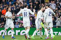 Isco Alarcon,Garet Bale, Cristiano Ronaldo and Alvaro Morata  of Real Madrid celebrates after scoring a goal during the match of Spanish La Liga between Real Madrid and UD Las Palmas at  Santiago Bernabeu Stadium in Madrid, Spain. March 01, 2017. (ALTERPHOTOS / Rodrigo Jimenez) /NortePhoto.com