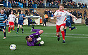 Stranraer's Craig Malcolm goes around Forfar keeper Rab Douglas.