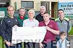Diarmuid O'Donoghue and Eugene McSweeney presents the proceeds of their Celebrity Darts night to the Kerry Hospice Foundation on Thursday evening l-r: Diarmuid O'donoghue, Donal O'Sullivan, Pat Doolin KHF, Eugene McSweeney, John O'Sullivan, Alan Breen and Tomas O'Sullivan