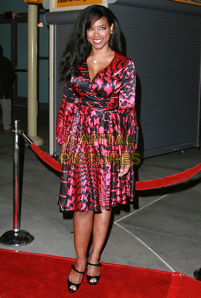 "KENYA MOORE .""I Think I Love My Wife"" Los Angeles Premiere held at ArcLight Cinemas, Hollywood, California, USA..March 7th, 2007.full length black red satin pattern dress.CAP/ADM/CH.©Charles Harris/AdMedia/Capital Pictures"