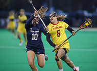 College Park, MD - April 19, 2018: Maryland Terrapins Meghan Doherty (6) runs pass Penn State Nittany Lions Maggie Gallagher (10) during game between Penn St. and Maryland at  Field Hockey and Lacrosse Complex in College Park, MD.  (Photo by Elliott Brown/Media Images International)