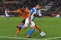 Blackburn Rovers' Adam Armstrong battles with Hull City's Kevin Stewart<br /> <br /> Photographer Dave Howarth/CameraSport<br /> <br /> The Premier League - Hull City v Blackburn Rovers - Tuesday August 20th 2019  - KCOM Stadium - Hull<br /> <br /> World Copyright © 2019 CameraSport. All rights reserved. 43 Linden Ave. Countesthorpe. Leicester. England. LE8 5PG - Tel: +44 (0) 116 277 4147 - admin@camerasport.com - www.camerasport.com