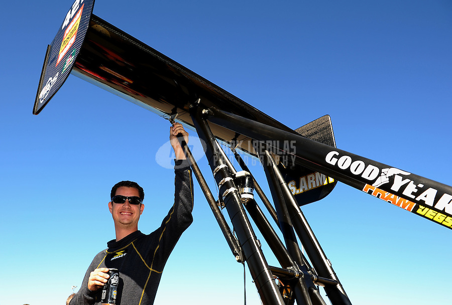 Oct. 30, 2011; Las Vegas, NV, USA: NHRA top fuel dragster driver Spencer Massey during the Big O Tires Nationals at The Strip at Las Vegas Motor Speedway. Mandatory Credit: Mark J. Rebilas-
