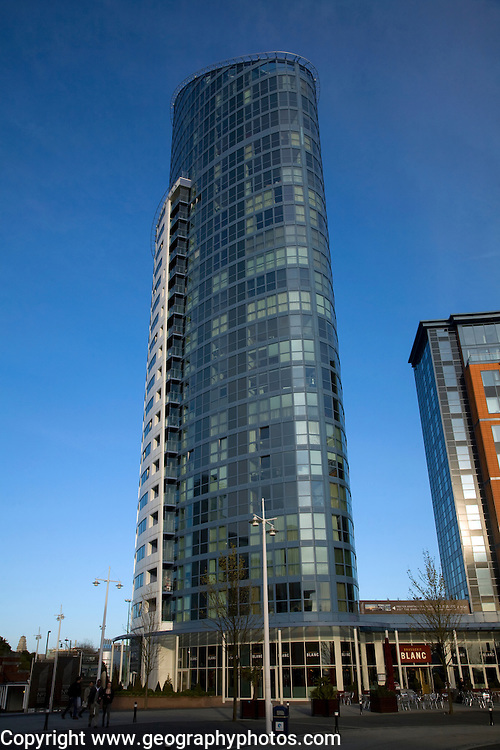 Modern high rise luxury apartments development, Number One, Gunwharf Quays, Portsmouth, Hampshire, England
