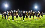 S&ouml;dert&auml;lje 2014-04-07 Fotboll Superettan Assyriska FF - Hammarby IF :  <br /> Hammarby spelare jublar med Hammarby supportrar efter matchen<br /> (Foto: Kenta J&ouml;nsson) Nyckelord:  Assyriska AFF S&ouml;dert&auml;lje Hammarby HIF Bajen jubel gl&auml;dje lycka glad happy