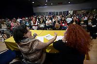 """BOGOTÁ -COLOMBIA. 10-10-2014. Socorro Gomes (Izq), presidenta Consejo Mundial de Paz, interviene durante el encuentro por la """"Dignidad de las Víctimas del Genocidio contra La UP"""" realizado hoy, 10 de octuber de 2014, en la ciudad de Bogotá./ Socorro Gomes (L), president of World Peace Council, in her speech during the meeting for the """"Dignity of Victims of Genocide against The UP"""" took place today, October 10 2014, at Bogota city. Photo: Reiniciar /VizzorImage/ Gabriel Aponte"""