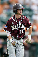 Texas A&M Aggies outfielder Krey Bratsen #13 runs to first base against the Texas Longhorns in NCAA Big XII Conference baseball on May 21, 2011 at Disch Falk Field in Austin, Texas. (Photo by Andrew Woolley / Four Seam Images)
