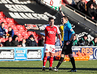 Fleetwood Town's Ross Wallace is booked by referee Harrington <br /> <br /> Photographer Andrew Kearns/CameraSport<br /> <br /> The EFL Sky Bet League One - Fleetwood Town v Charlton Athletic - Saturday 2nd February 2019 - Highbury Stadium - Fleetwood<br /> <br /> World Copyright © 2019 CameraSport. All rights reserved. 43 Linden Ave. Countesthorpe. Leicester. England. LE8 5PG - Tel: +44 (0) 116 277 4147 - admin@camerasport.com - www.camerasport.com