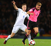 5th October 2017, Hampden Park, Glasgow, Scotland; FIFA World Cup Qualification, Scotland versus Slovakia;  Jan Gregus and James Morrison tussle for the ball