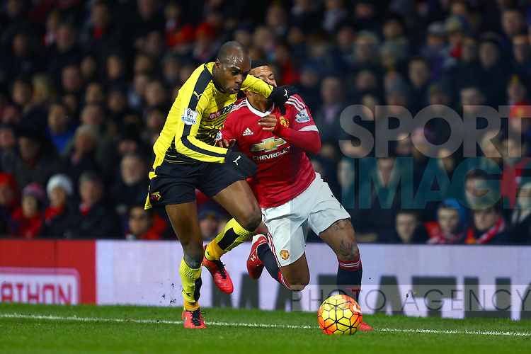 Allan Nyom of Watford blocks Memphis Depay of Manchester United with a hand to the face - Barclay's Premier League - Manchester United vs Watford - Old Trafford - Manchester - 02/03/2016 Pic Philip Oldham/SportImage