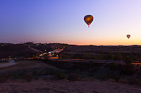 Hot Air Balloon Flying at Sunset in San Diego California