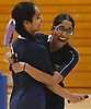 Jericho seniors Shimona Agarwal, left, and Anvita Bhaskara celebrate after winning the Nassau County varsity girls badminton doubles championship at Long Beach High School on Saturday, May 13, 2017. The pair bested Samantha Trabold and Caleigh Alfarone of Calhoun in the finals to claim the county title.