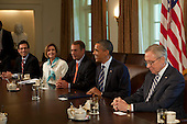 United States President Barack Obama meets with Congressional leaders from left to right: U.S. House Majority Leader Eric Cantor (Republican of Virginia), U.S. House Minority Leader Nancy Pelosi (Democrat of California), Speaker of the U.S. House John Boehner (Republican of Ohio), President Obama, and U.S. Senate Majority Leader Harry Reid (Democrat of Nevada) in the Cabinet Room of the White House in Washington, D.C., U.S., on Thursday, July 7, 2011. The Obama administration and congressional leaders are seeking an accord to lower the deficit during the next 10 to 12 years to pave the way for a vote to increase the $14.3 trillion debt limit, and the tax issue looms as the major obstacle to a deal. .Credit: Andrew Harrer / Pool via CNP