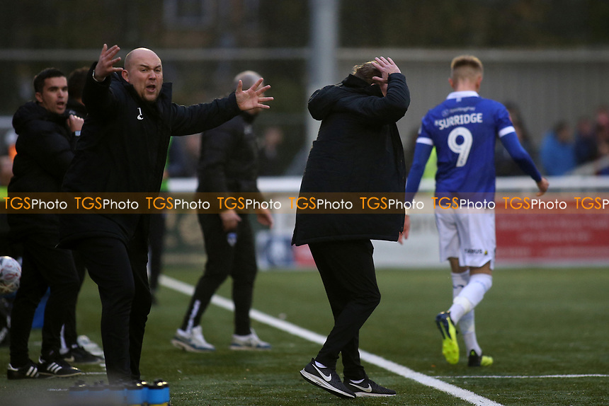 Maidstone United Assistant Manager, Tristan Lewis, shows his frustration as Maidstone United Manager, Harry Wheeler, puts his head in his hands during Maidstone United vs Oldham Athletic, Emirates FA Cup Football at the Gallagher Stadium on 1st December 2018