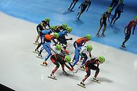 SCHAATSEN: DORDRECHT: Sportboulevard, Korean Air ISU World Cup Finale, 12-02-2012, Final Relay Ladies, Biba Sakurai JPN (134), Sayuri Shimizu JPN (135), Alyson Dudek USA (162), Tamara Frederick USA (163), Sanne van Kerkhof NED (146), Yara van Kerkhof NED (147), Arianna Valcepina ITA (128), Elena Viviani ITA (130), Meng Lin CHN (111), Jianrou Li CHN (110), ©foto: Martin de Jong