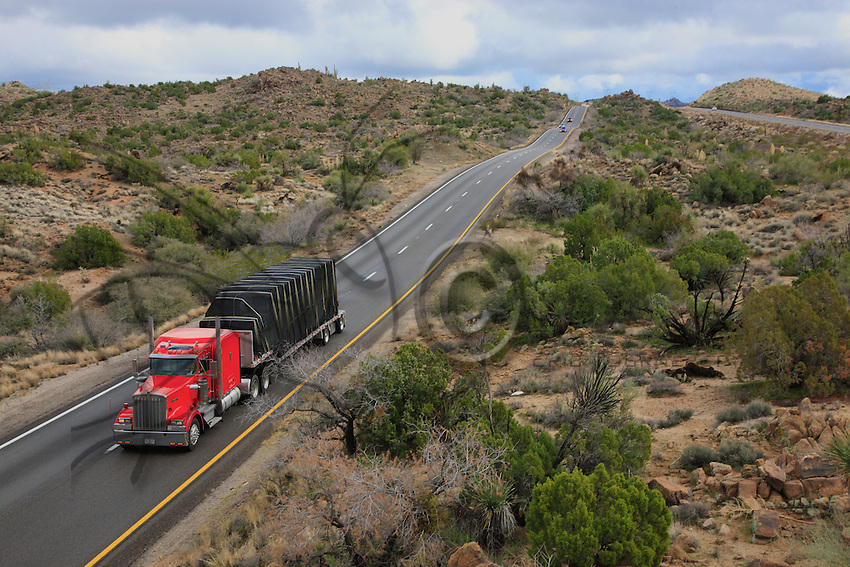 On the road in Arizona, the truck does 55 miles per hour, 970 miles per day. Every minute counts; at 25 cents per mile, Rich can hope for a tip of $500 if he makes the trip in three days.