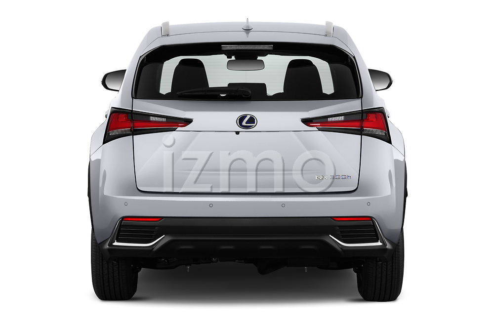 Straight rear view of 2019 Lexus NX 300h 5 Door SUV Rear View  stock images