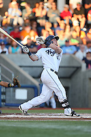 Stryker Trahan (40) of the Hillsboro Hops bats during a game against the Boise Hawks at Ron Tonkin Field on August 21, 2015 in Hillsboro, Oregon. Boise defeated Hillsboro, 7-1. (Larry Goren/Four Seam Images)