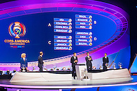 NEW YORK, NY - Sunday February 21, 2016: The Copa America Centenario draw ceremony at the Hammerstein Ballroom in midtown Manhattan, New York City.