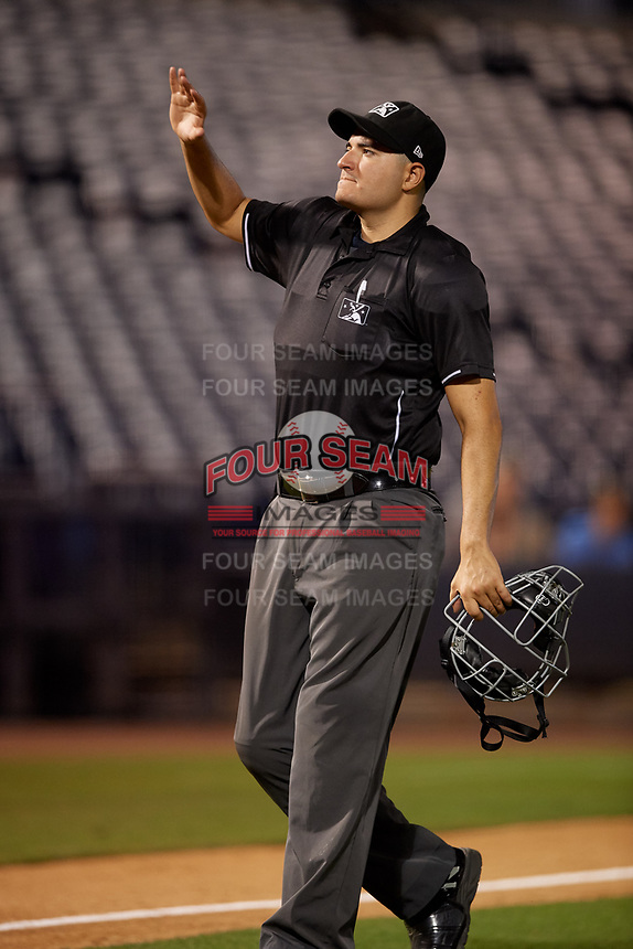 Umpire Ben Fernandez during a Florida State League game between the Daytona Tortugas and Tampa Tarpons on May 17, 2019 at George M. Steinbrenner Field in Tampa, Florida.  Daytona defeated Tampa 8-6.  (Mike Janes/Four Seam Images)
