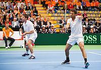 07-04-12, Netherlands, Amsterdam, Tennis, Daviscup, Netherlands-Rumania, Dubbels, Igor Sijsling en Jean-Julien Rojer(R)