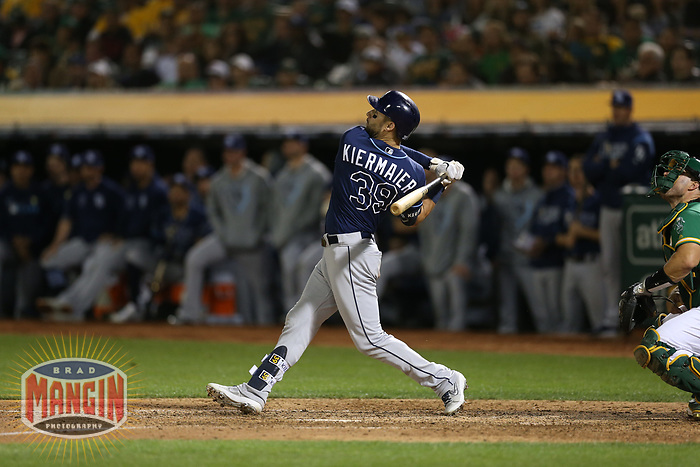 OAKLAND, CA - OCTOBER 02:  Kevin Kiermaier #39 of the Tampa Bay Rays bats against the Oakland Athletics during the American League Wild Card Game at RingCentral Coliseum on Wednesday, October 2, 2019 in Oakland, California. (Photo by Brad Mangin)