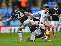 Bolton Wanderers' Zach Clough maintains the ball against Tomas Kalas of Fulham<br /> <br /> Photographer Leila Coker/CameraSport<br /> <br /> The EFL Sky Bet Championship - Bolton Wanderers v Fulham - Saturday 10th February 2018 - Macron Stadium - Bolton<br /> <br /> World Copyright &copy; 2018 CameraSport. All rights reserved. 43 Linden Ave. Countesthorpe. Leicester. England. LE8 5PG - Tel: +44 (0) 116 277 4147 - admin@camerasport.com - www.camerasport.com
