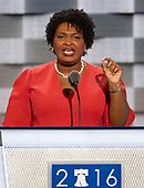 Minority Leader of the Georgia House of Representatives Stacey Abrams (Democrat of Georgia) makes remarks during the first session of the 2016 Democratic National Convention at the Wells Fargo Center in Philadelphia, Pennsylvania on Monday, July 25, 2016.<br /> Credit: Ron Sachs / CNP<br /> (RESTRICTION: NO New York or New Jersey Newspapers or newspapers within a 75 mile radius of New York City)