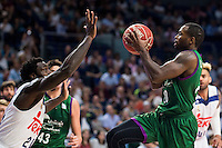 Real Madrid's player Othello Hunter and Unicaja Malaga's player Oliver Lafayette during match of Liga Endesa at Barclaycard Center in Madrid. September 30, Spain. 2016. (ALTERPHOTOS/BorjaB.Hojas) /NORTEPHOTO.COM