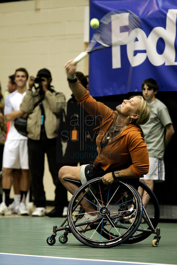 Karin Korb serves during a match in the FedEx Shootout Atlanta at Kennesaw State University on Saturday, Dec. 9, 2006.