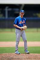 GCL Mets relief pitcher Hector Rodriguez (51) gets ready to deliver a pitch during a game against the GCL Nationals on August 4, 2018 at FITTEAM Ballpark of the Palm Beaches in West Palm Beach, Florida.  GCL Nationals defeated GCL Mets 7-4.  (Mike Janes/Four Seam Images)