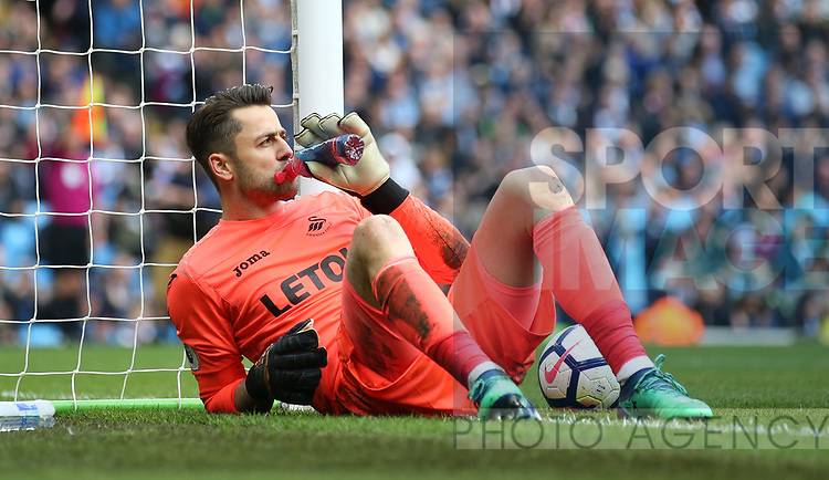 Lucas Fabianski of Swansea City winks after making a double save during the premier league match at the Etihad Stadium, Manchester. Picture date 22nd April 2018. Picture credit should read: Simon Bellis/Sportimage