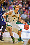4 February 2014: University of Vermont Catamount Forward Brian Voelkel, a Senior from Pleasantville, NY, in action against the University of Maine Black Bears at Patrick Gymnasium in Burlington, Vermont. The Cats defeated the Bears 93-65 improving to 9-1 in America East and 15-9 overall. Mandatory Credit: Ed Wolfstein Photo *** RAW (NEF) Image File Available ***