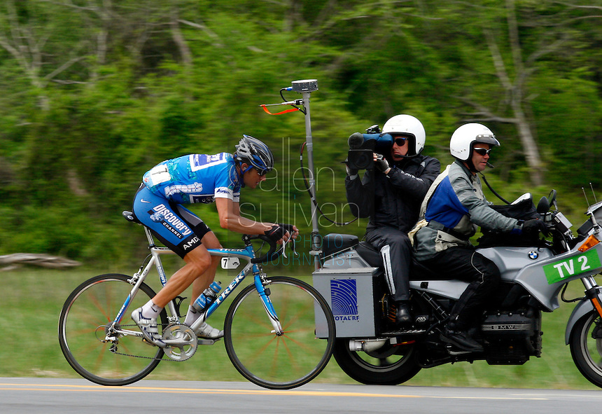 Jason McCartney, of the Discovery Channel Pro Cycling Team, rides a solo breakaway Stage 5 of the Ford Tour de Georgia. His teammate Tom Danielson won the 94.5-mile (152.1-km) stage from Blairsville to the top of Brasstown Bald, the highest point in the state. McCartney finished 18th.<br />
