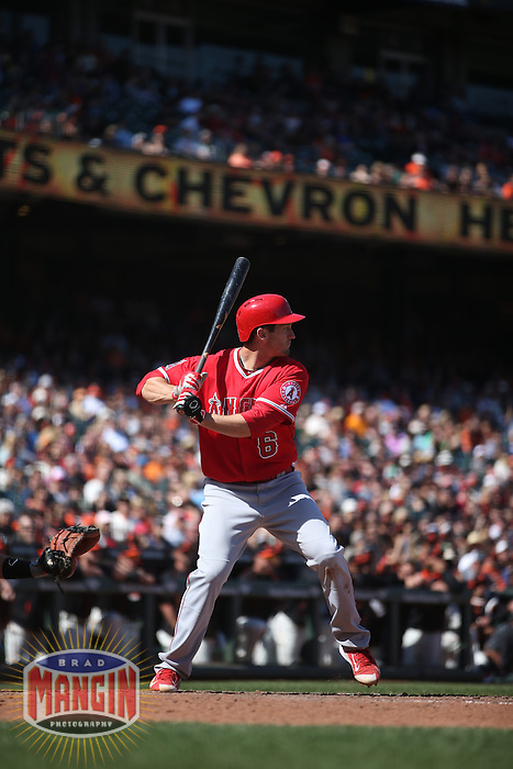 SAN FRANCISCO, CA - MAY 2:  David Freese #6 of the Los Angeles Angels bats against the San Francisco Giants during the game at AT&T Park on Saturday, May 2, 2015 in San Francisco, California. Photo by Brad Mangin